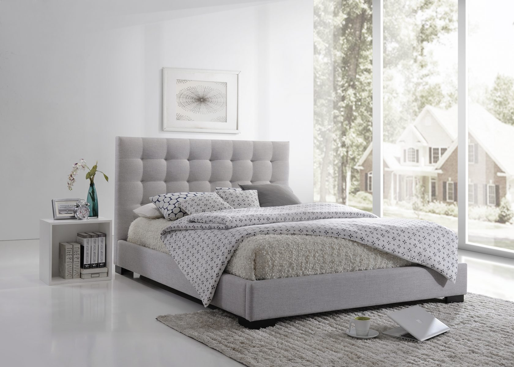 Memphis Queen Bed Pearl Grey Rise Shine